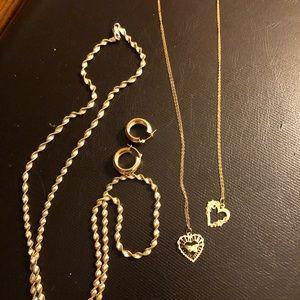 """""""Bundle"""" 14k gold heart chain necklaces etc..."""
